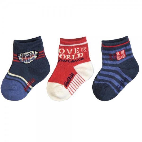 Bóboli Jungen Socken 3er Pack blau/rot Gr. 19-27