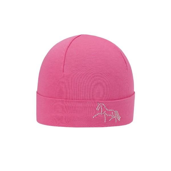 Döll Mädchen Topfmütze Glitzersteine-Pferd flamingo pink