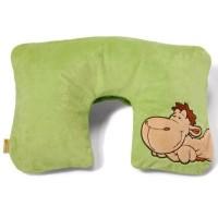 Nici Aufblasbares Nackenkissen mit Plüschhülle Kamel grün