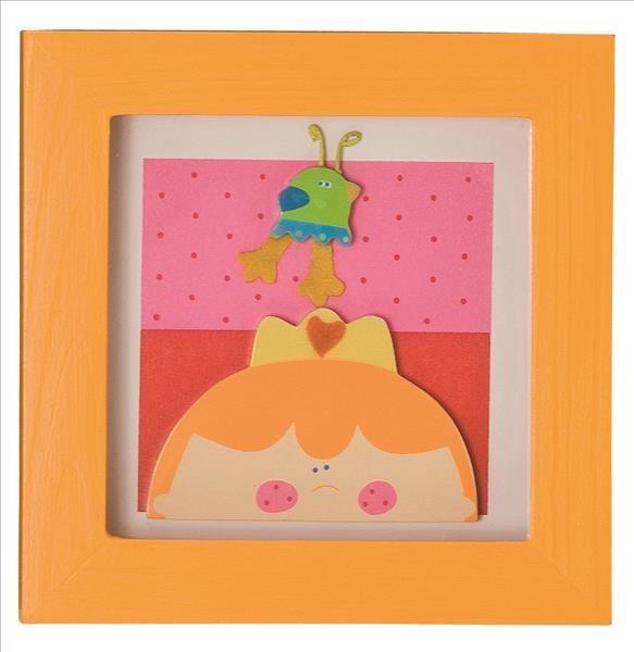 TRÄ PRESENT Kinderzimmer Bild Kleine Prinzessin 14 x14 cm orange