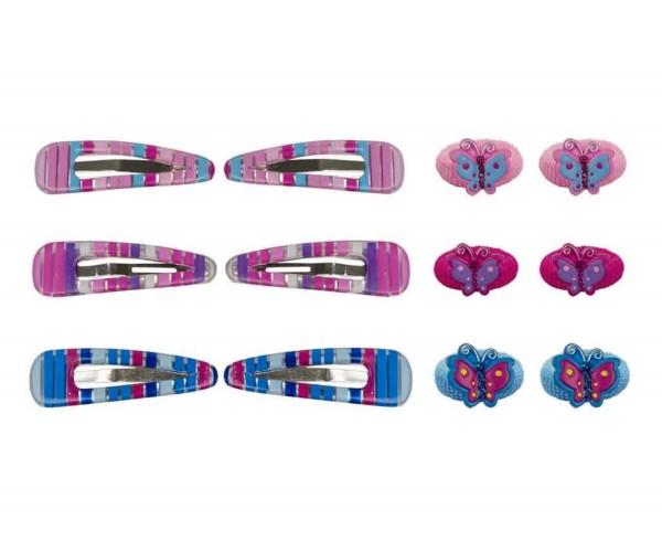 Mädchen Haarschmuck Zopfgummi Schmetterling und Haarspangen gestreift 4 tlg.