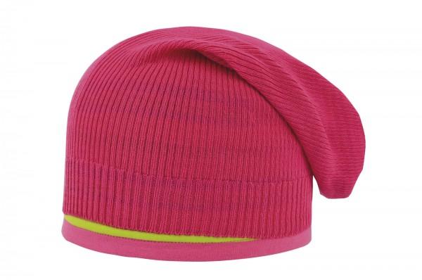 d-generation - Mädchen Strick-Boho mit Topfmütze 2-teilig raspberry pink