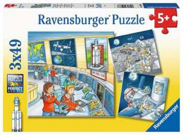 Ravensburger Kinder Puzzle 3 x 49 Teile Auf Weltraummission mit Tom