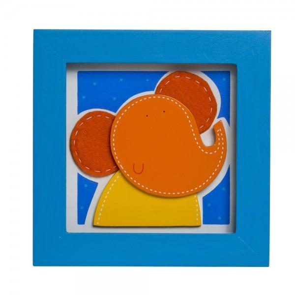 TRÄ PRESENT Kinderzimmer Bild Elefant 14 x14 cm blau