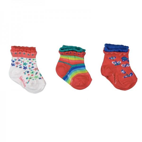Bóboli Mädchen Socken 3er Pack rot/bunt Gr.16-27