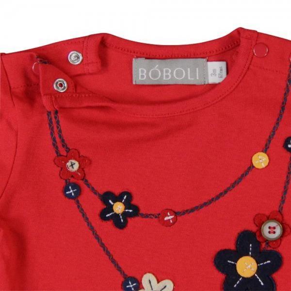 Bóboli Mädchen Langarmshirt Blumenkette rot
