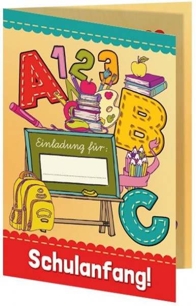 Einladungskarten zum Schulanfang ABC