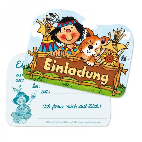 Lutz Mauder Kindergeburtstag Einladungskarte Indianer