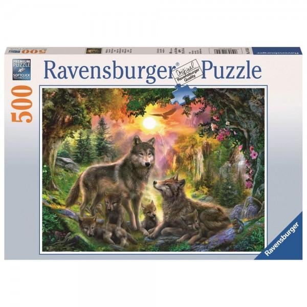 Ravensburger 500 Teile Puzzle Wolfsfamilie im Sonnenschein