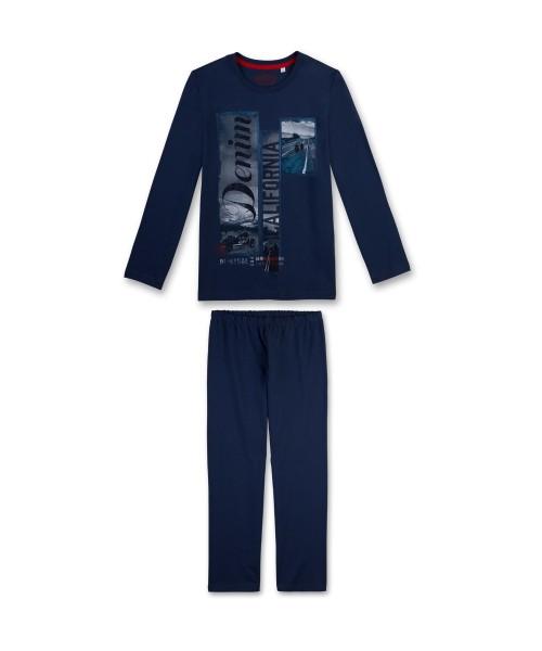 Sanetta Jungen Schlafanzug lang Bikertraum blau Gr. 128 - 164