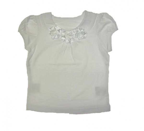 KINDERIT Mädchen festliches T-Shirt mit Stoffblumen weiß Gr. 92 - 128