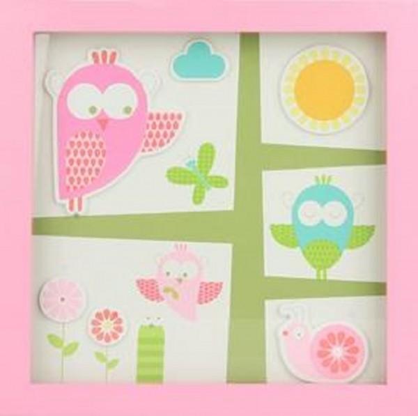 TRÄ PRESENT Kinderzimmer Bild Garten 26 x 26 cm rosa