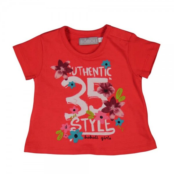 Bóboli Mädchen Baby T-Shirt Blumen rot Gr. 62 - 92