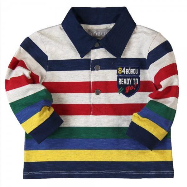 Bóboli langärmliges Jungen Poloshirt gestreift Gr. 74 - 92