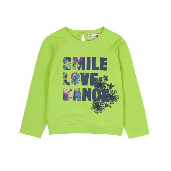 Bóboli Mädchen Langarmshirt grün Smile Love Dance Gr. 110 - 164