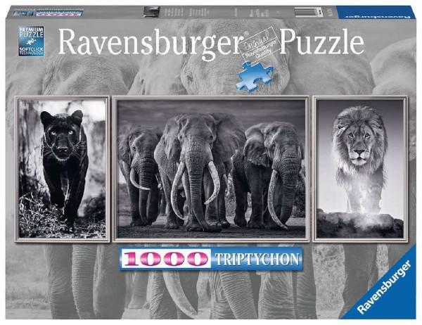 Ravensburger Puzzle 1000 Teile Triptychon Panther, Elefanten, Löwe