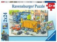 Ravensburger Kinder Puzzle 2 x 24 Teile Müllabfuhr und Abschleppwagen