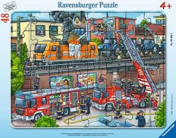 Ravensburger Kinder Rahmenpuzzle 48 Teile Feuerwehreinsatz an den Bahngleisen