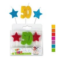Trendhaus Happy Birthday Jubiläumskerzen Nr.50 im 3er-Set