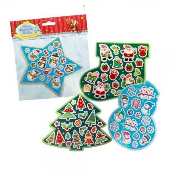 Weihnachtswünsche Glitzer- Sticker, 4-fach sortiert