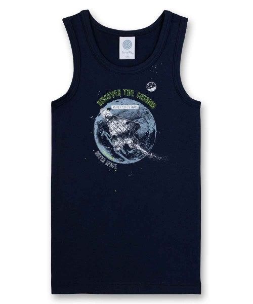 Sanetta Jungen Unterhemd Weltraumrakete blau Gr. 92 - 140