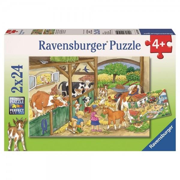 RAVENSBURGER Puzzle 2 mal 24 Teile Fröhliches Landleben