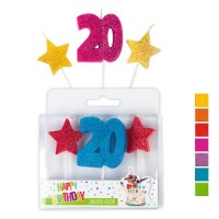 Trendhaus Happy Birthday Jubiläumskerzen Nr.20 im 3er-Set