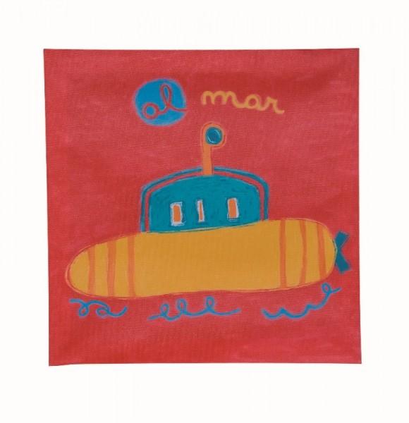 TRÄ PRESENT Kinderzimmer Bild U-Boot 28 x 28 cm