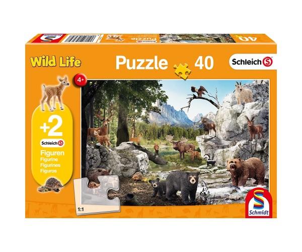 Schmidt Puzzle 40 Teile Schleich Die Tiere des Waldes