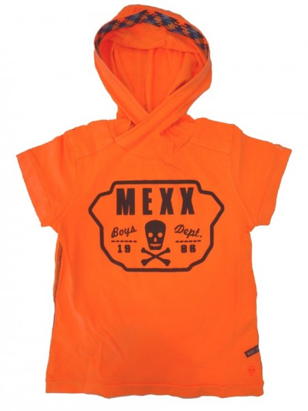 MEXX Jungen Kinder T-Shirt mit Kapuze fluorescent orange Gr. 98 - 152