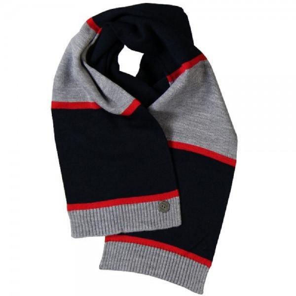 Bóboli Jungen Schal blau, grau, rot gestreift Gr. M, L, XL