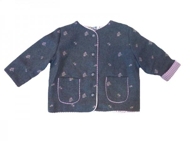 Trachten Jacke Janker für Mädchen grau Gr. 68 - 164