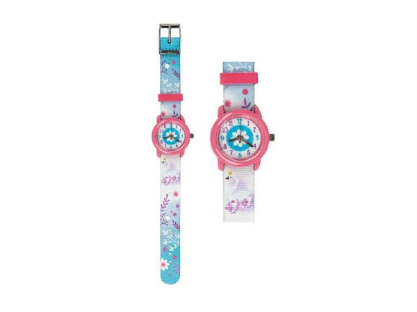 Kinder Armbanduhr Schwan hellblau mit Stoffarmband