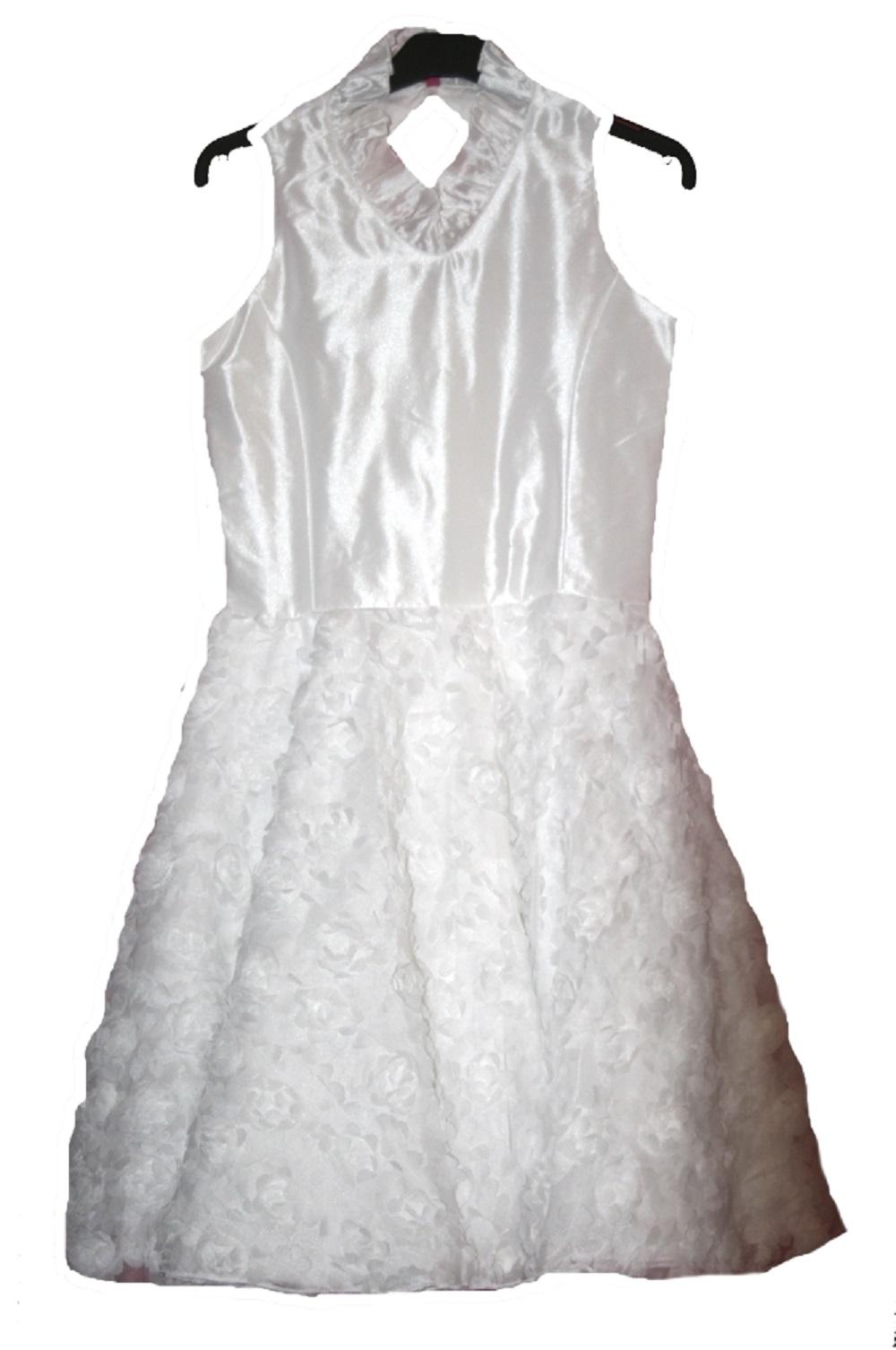 monny festl. weißes kleid blumen für kommunion, hochzeit gr.134 -146