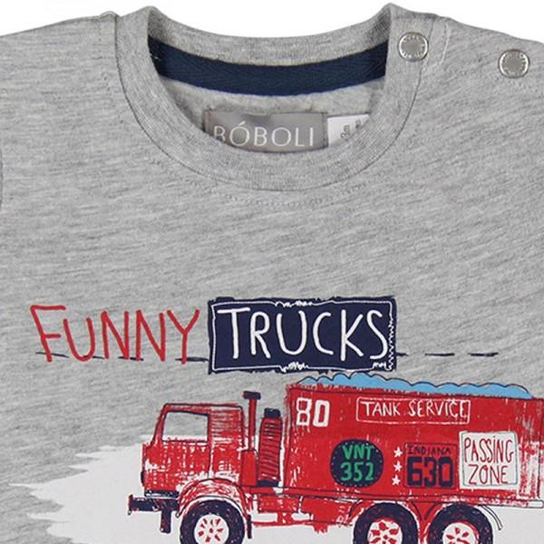 Bóboli Jungen T-Shirt Funny Trucks grey melange Gr. 74 - 92