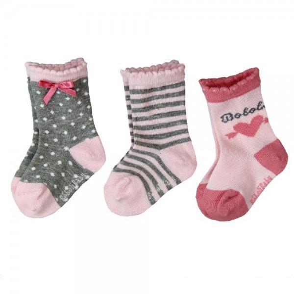 Bóboli Mädchen Socken 3er Pack rosa/grau Gr.16-27