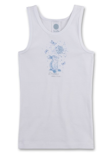 Sanetta Mädchen Unterhemd Hase mit Pusteblume weiß