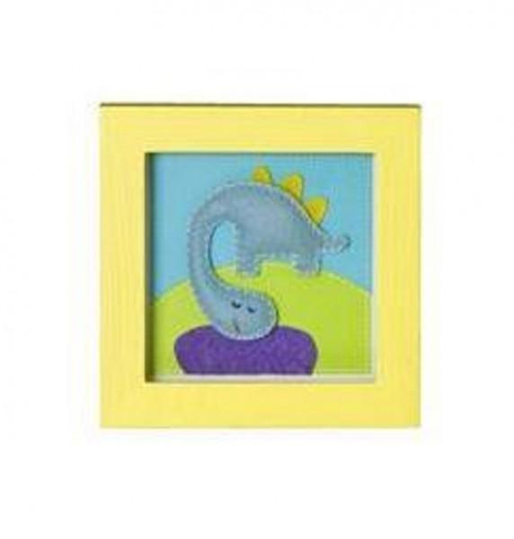 TRÄ PRESENT Kinderzimmer Bild Dinosaurier 14 x14 cm gelb