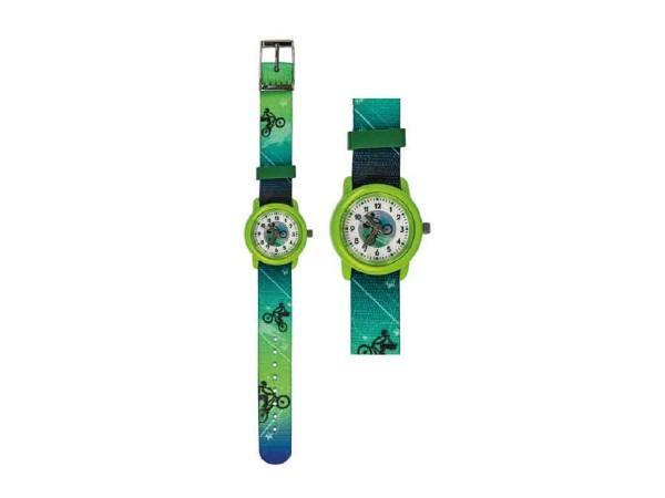 Kinder Armbanduhr Bike grün mit Stoffarmband