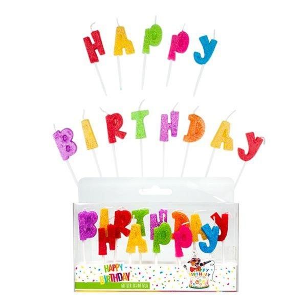 Trendhaus Happy Birthday Glitzerschriftzugkerze