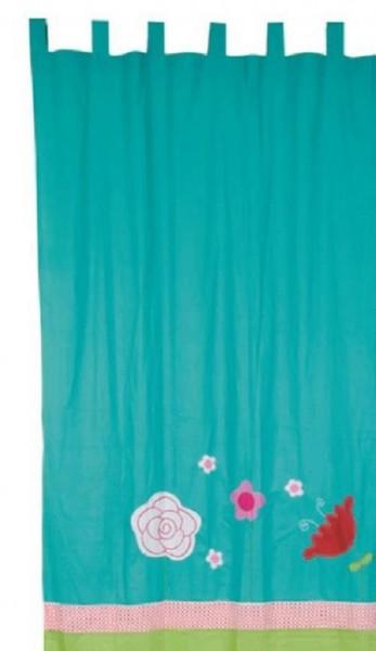TRÄ PRESENT Vorhang türkis-grün Blumen