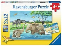Ravensburger Kinder Puzzle 2 x 12 Teile Tierkinder aus aller Welt