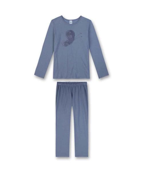 Sanetta Mädchen Schlafanzug lang Schmetterling blau Gr. 128 - 164