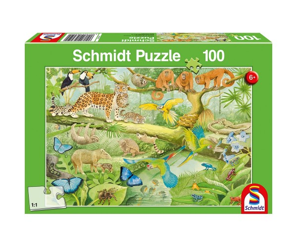Schmidt Puzzle 100 Teile Tiere im Regenwald