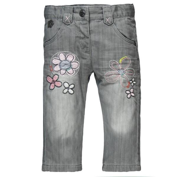 Bóboli Mädchen Jeans grau mit Blumenstickerei Gr. 74 - 104