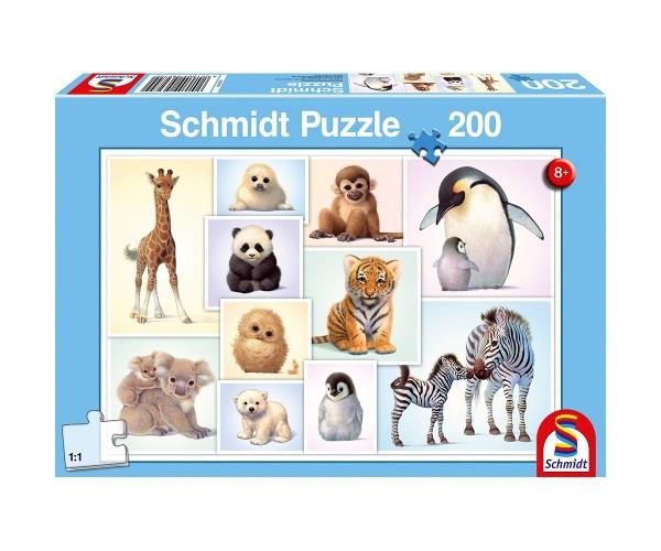 Schmidt Puzzle 200 Teile Tierkinder der Wildnis