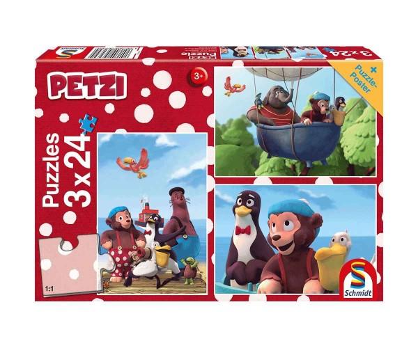 Schmidt Puzzle 3 x 24 Teile Petzi Beste Freunde