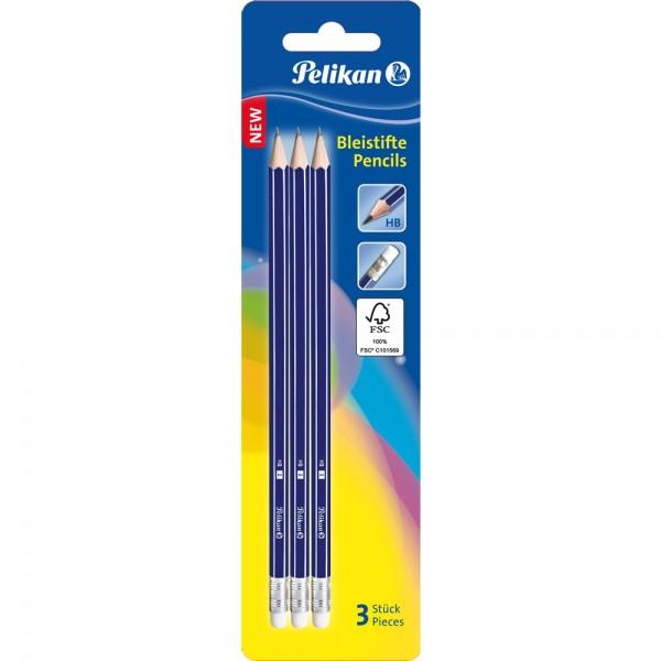 Pelikan HB-Bleistifte mit Radiergummi 3er Pack