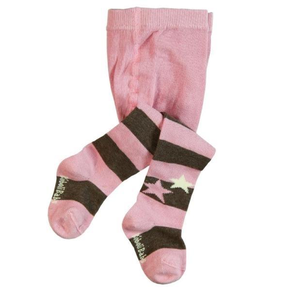 BÓBOLI Mädchen Strumpfhose rosa, beige gestreift