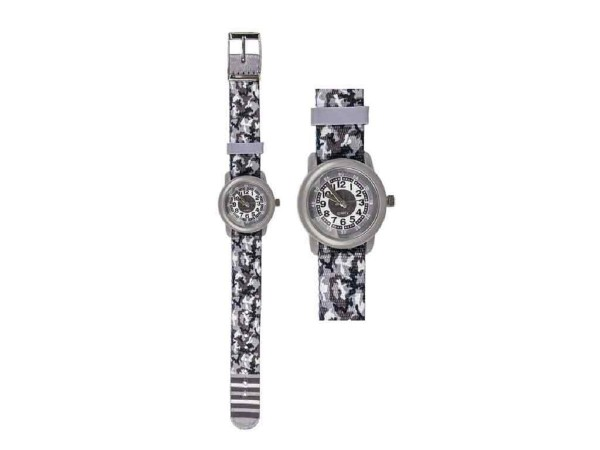 Kinder Armbanduhr Camouflage grau mit Stoffarmband